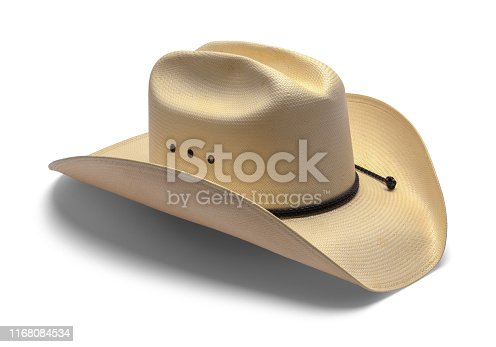 Old Cowboy Hat Isolated on White Background.