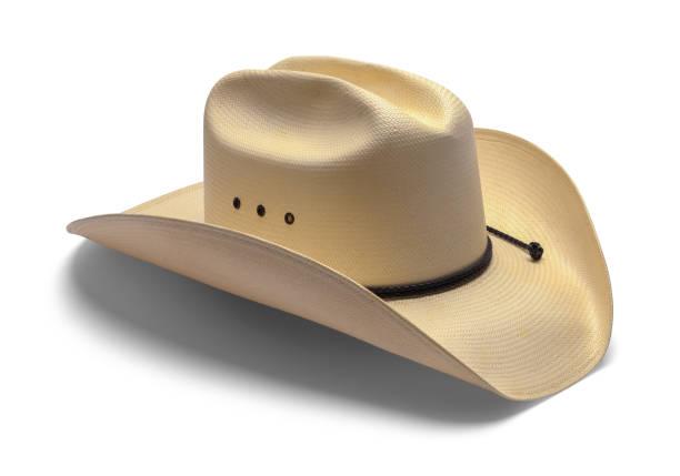 alter cowboyhut - weißer hintergrund stock-fotos und bilder