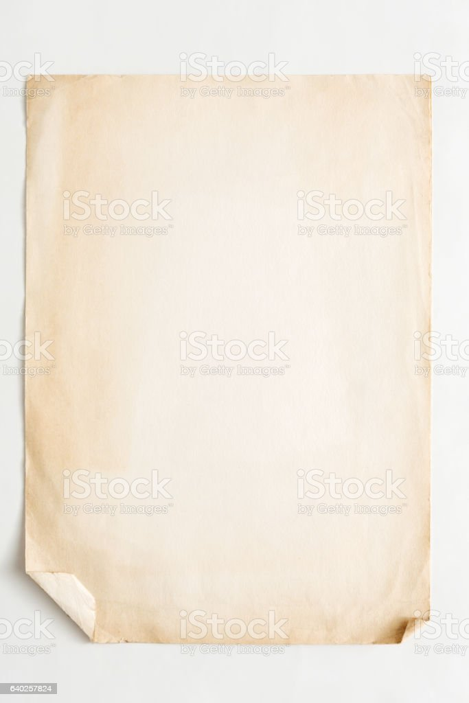 old craft paper sheet isolated on white background - foto de stock