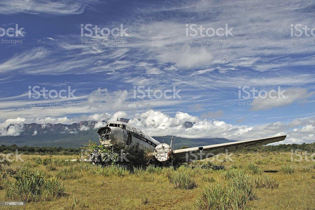 Old crashed plane stock photo
