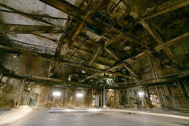 old creepy, dark, decaying, destructive, dirty factory - psychiatric ward stock photos and pictures