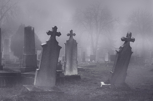 Old Creepy Haunted Cemetery On Foggy Night Stock Photo - Download Image Now