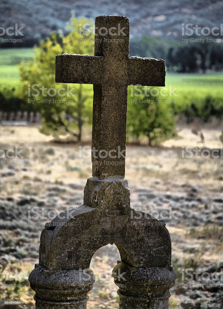 Old Cross Headstone royalty-free stock photo