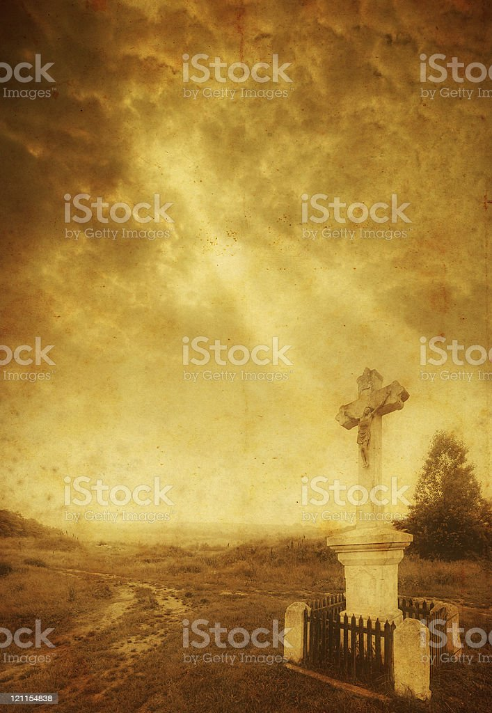 old cross with sunrays royalty-free stock photo