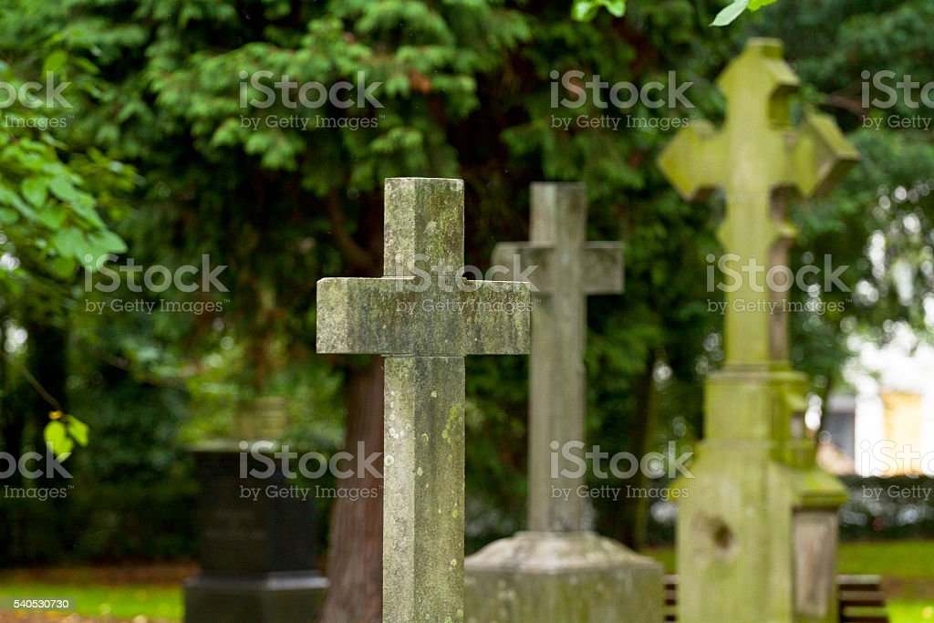 Old crosses and cemetery stock photo