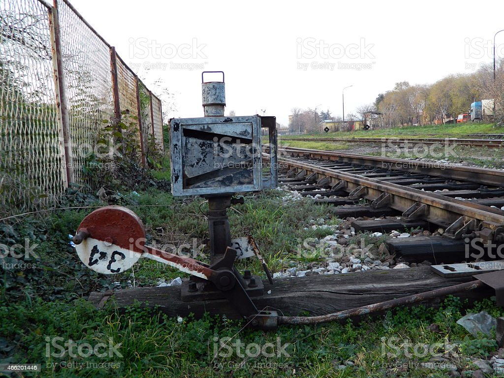 Old crossover on the railway stock photo