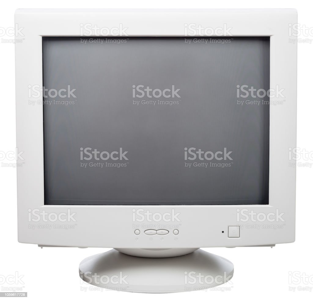 Old Crt Computer Monitor Isolated On White Stock Photo   Download Image Now