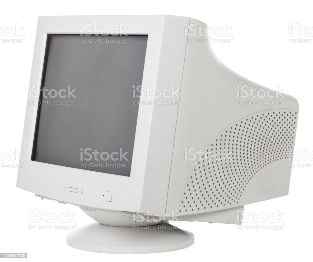 Old CRT computer monitor isolated on white stock photo
