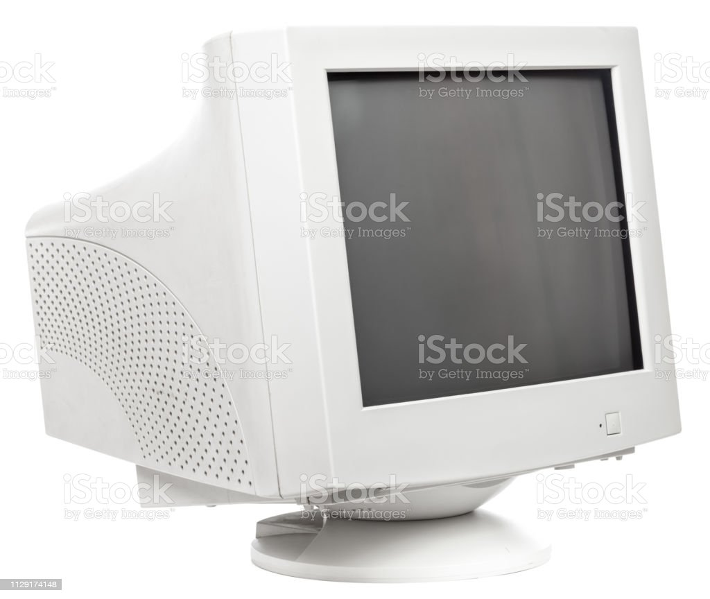 23 Old Crt Computer Monitor Isolated On White Stock Photo   Download Image Now