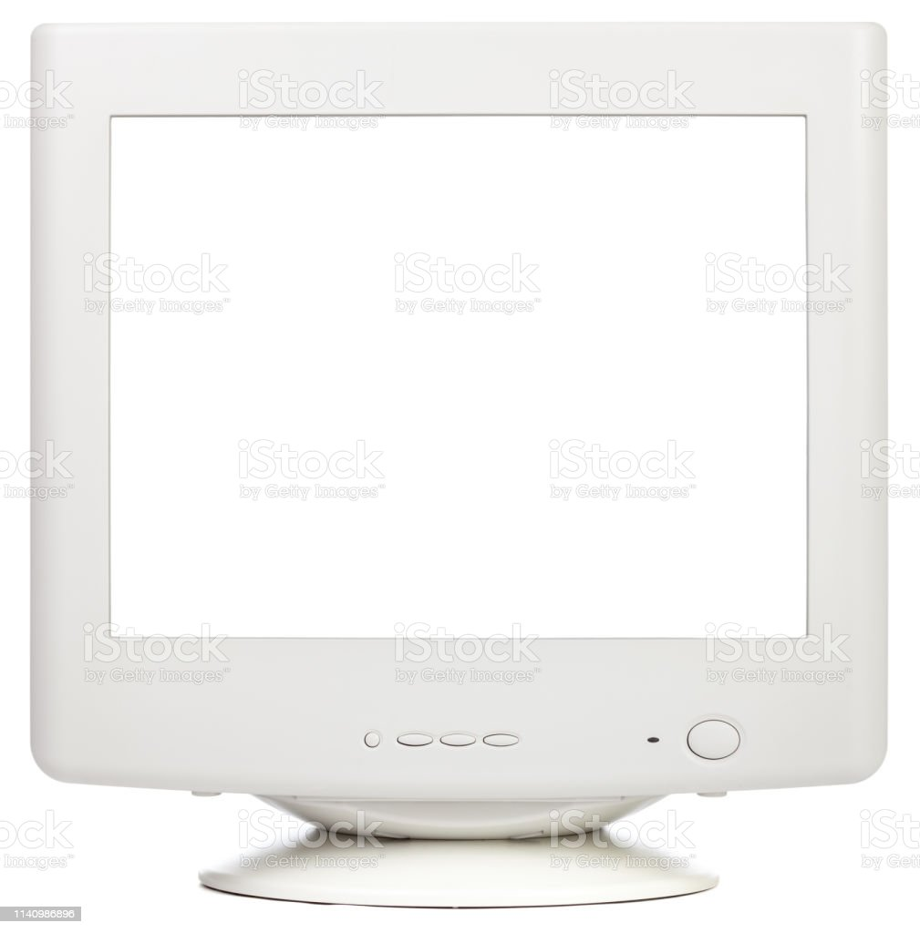 Old Crt Computer Monitor With Cutout Screen Isolated On White Stock Photo    Download Image Now