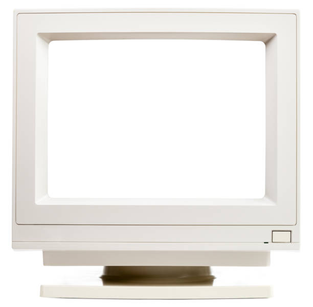 Old CRT computer monitor with cutout screen isolated on white stock photo