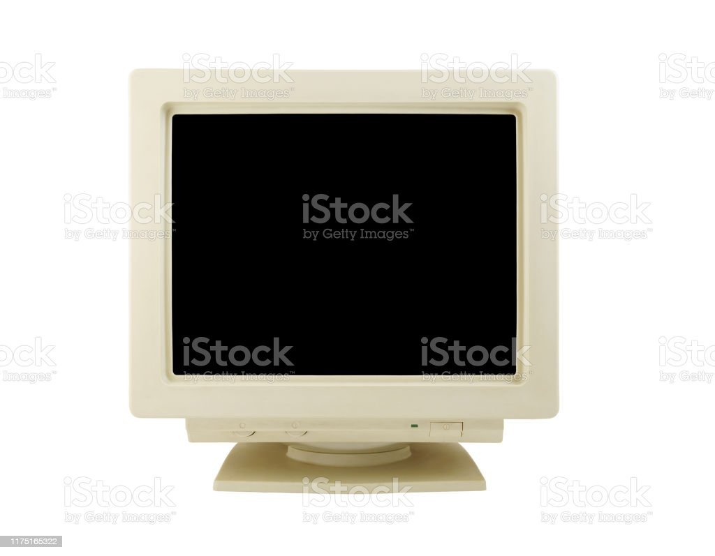 Old Crt Monitor Isolated Stock Photo   Download Image Now