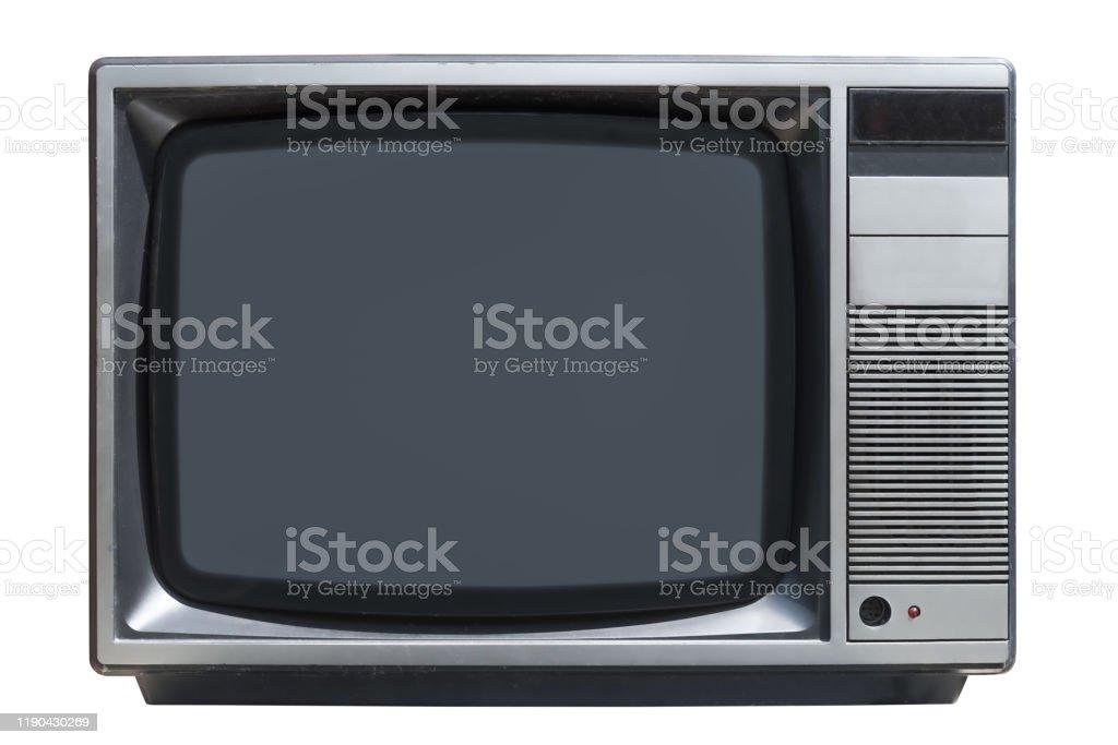 altes CRT-Röhrenfernseher isoliert auf weißem Hintergrund - Lizenzfrei 1980-1989 Stock-Foto