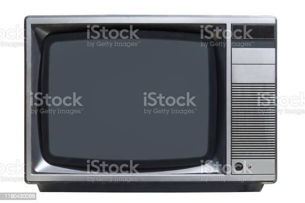 Altes Crtröhrenfernseher Isoliert Auf Weißem Hintergrund Stockfoto und mehr Bilder von 1980-1989