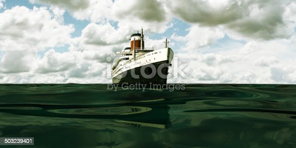old cruise ship sailing in the sea