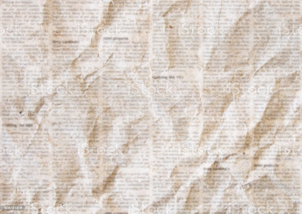 Old Crumpled Newspaper Texture Background Stock Photo
