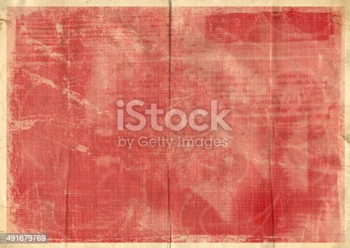 istock Old crumpled vintage card with dirty spots and stains 491679769