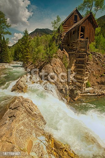 Crystal Mill Colorado USA, An Old abandon mining Mill On the Crystal River in Crystal, Colorado near Marble, very scenic part of Colorado.