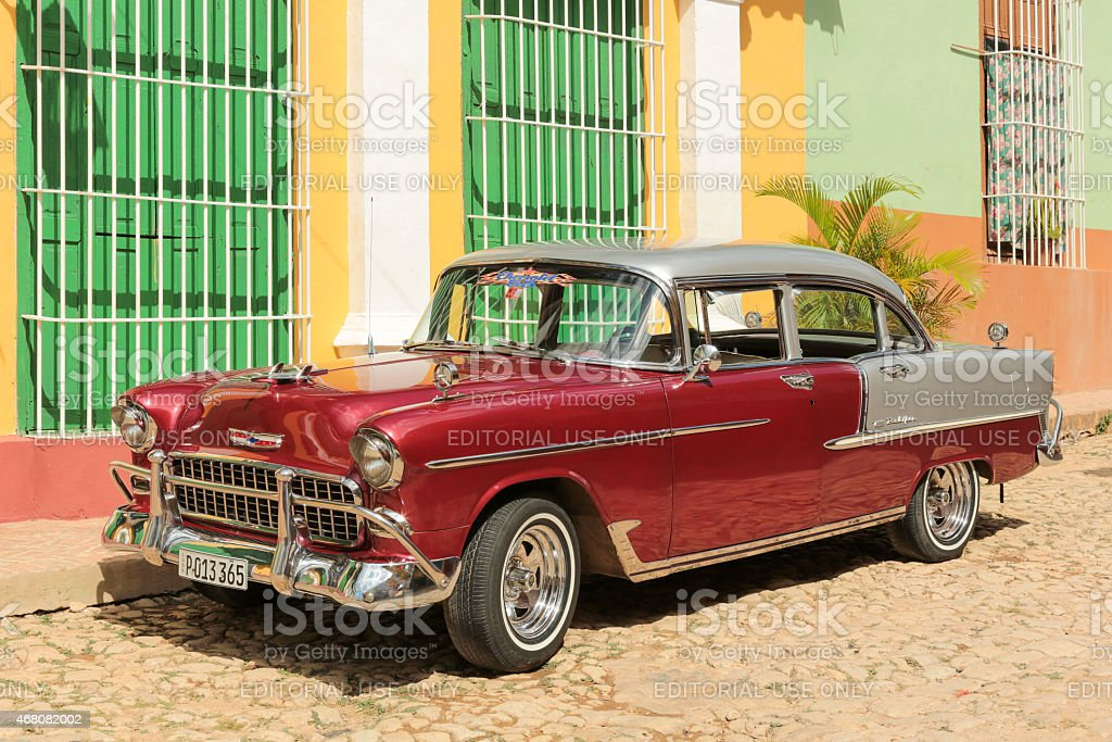 Old cuban car in the street stock photo