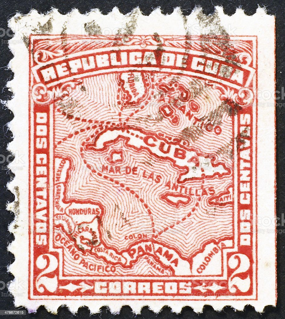 Old cuban stamp with map of Caribbean Sea stock photo
