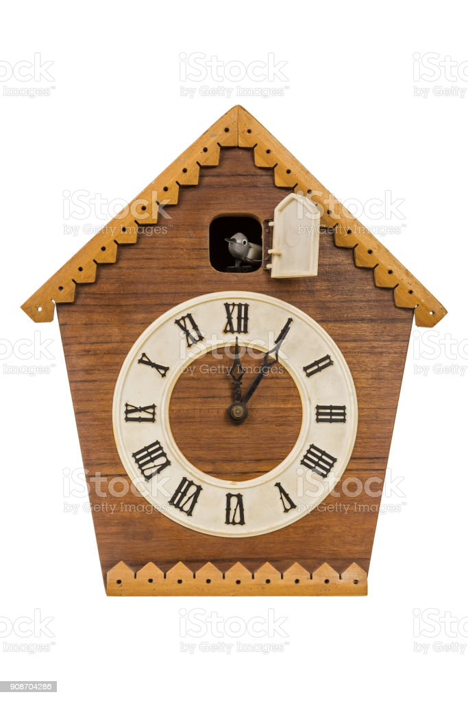 Old cuckoo clock isolated over white stock photo