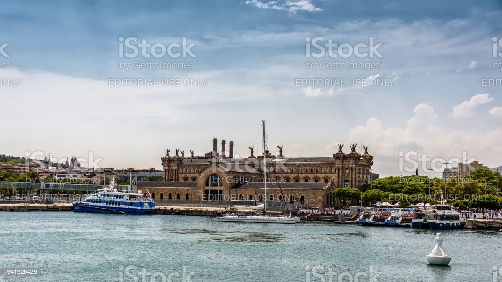 Old Customs House (Aduana)  in the port of Barcelona. View from the sea stock photo