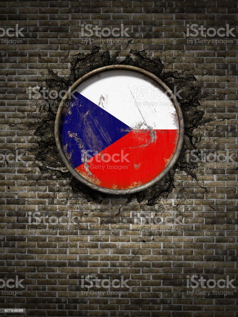 Bandera de la antigua República Checa en pared de ladrillo - foto de stock