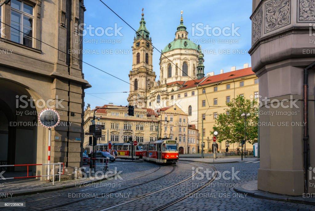 Old Czech tram on Malostranska Square in Prague, Czech Republic stock photo