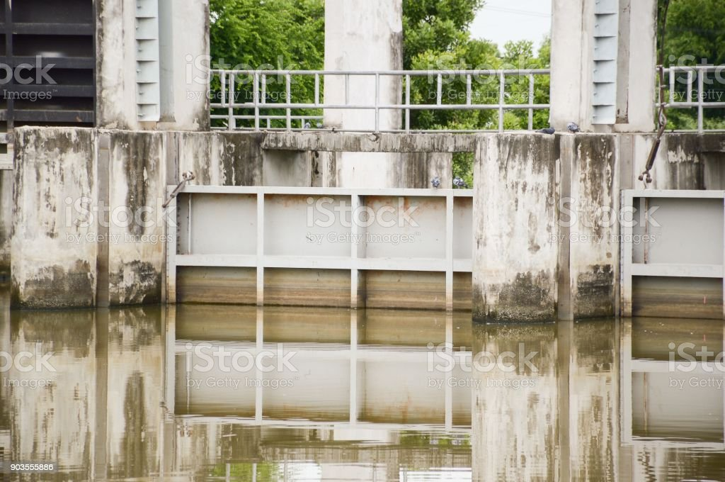 old dam in country Thailand stock photo
