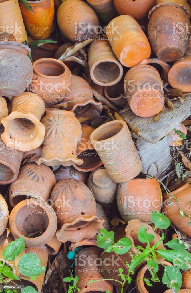 old damage unglazed earthware earthenware leaved. stock photo