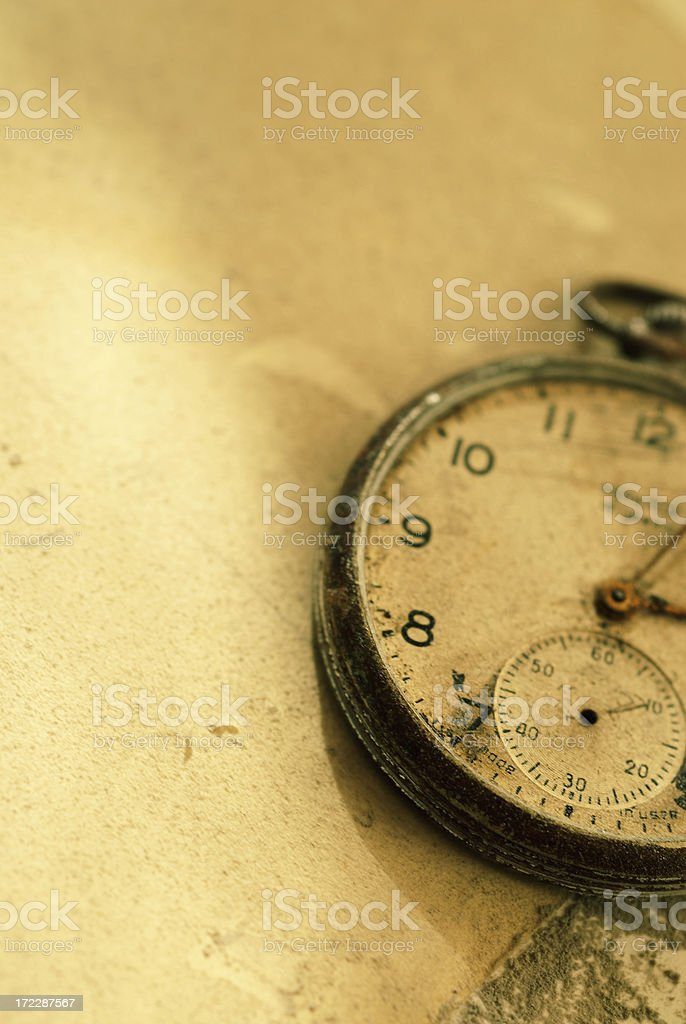 Old damaged pocket watch stock photo