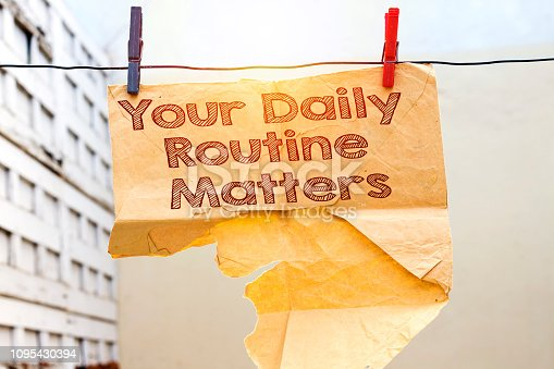 old damaged tear envelope with your daily routine matters hold on clothesline