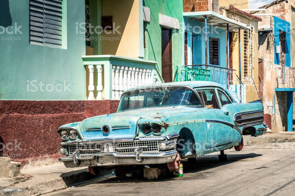 Old Damaged Vintage Car On The Street Cuba Stock Photo & More ...