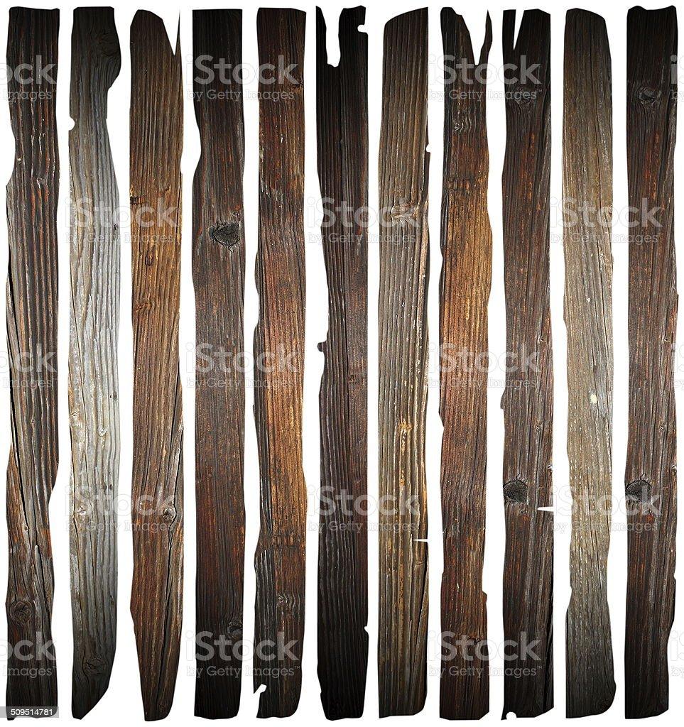 old damaged wood planks on white stock photo
