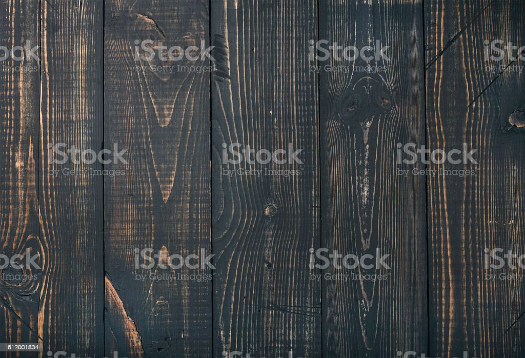 Old dark scorched wood texture, wallpaper or background stock photo