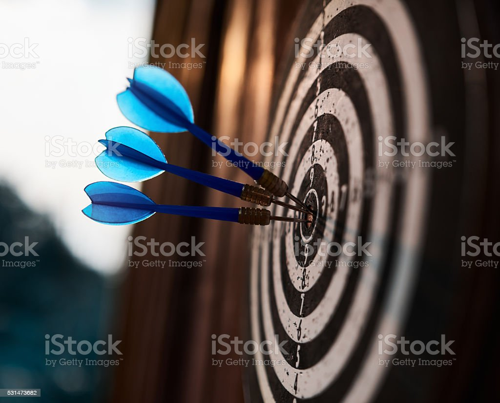 old darts board game stock photo