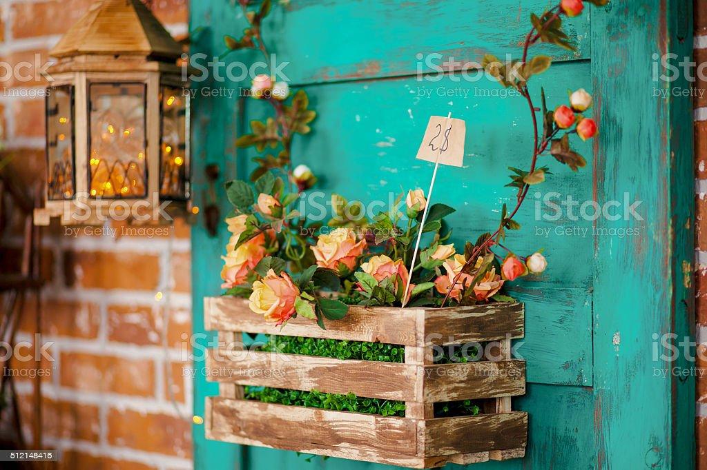 Vieille Décoration avec de l'agneau et de fleurs - Photo