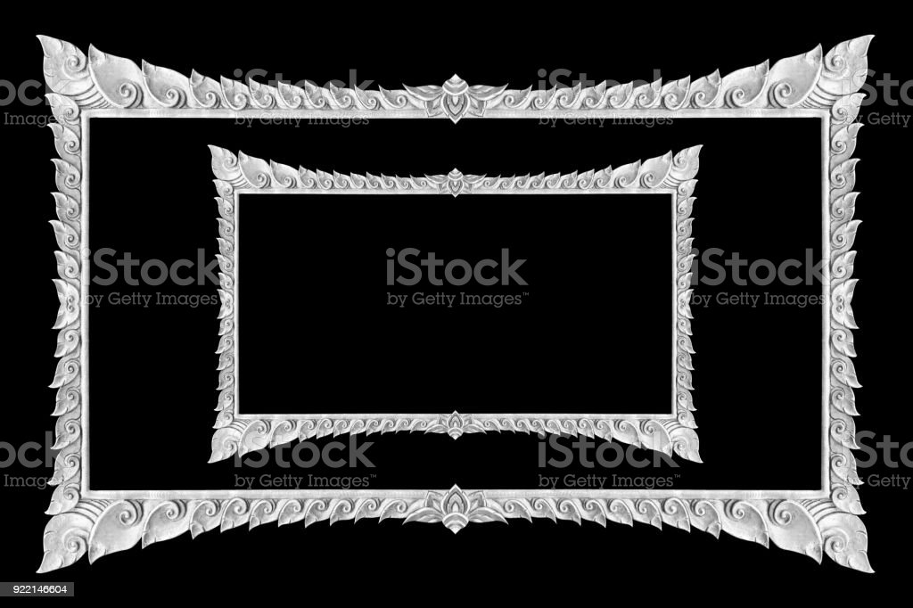 798043948ba3 Old Decorative Silver Frame Handmade Engraved Isolated On Black ...
