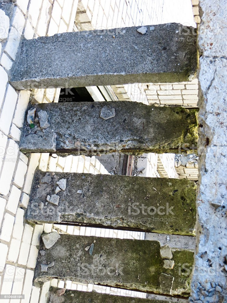Old decrepit stairs stock photo