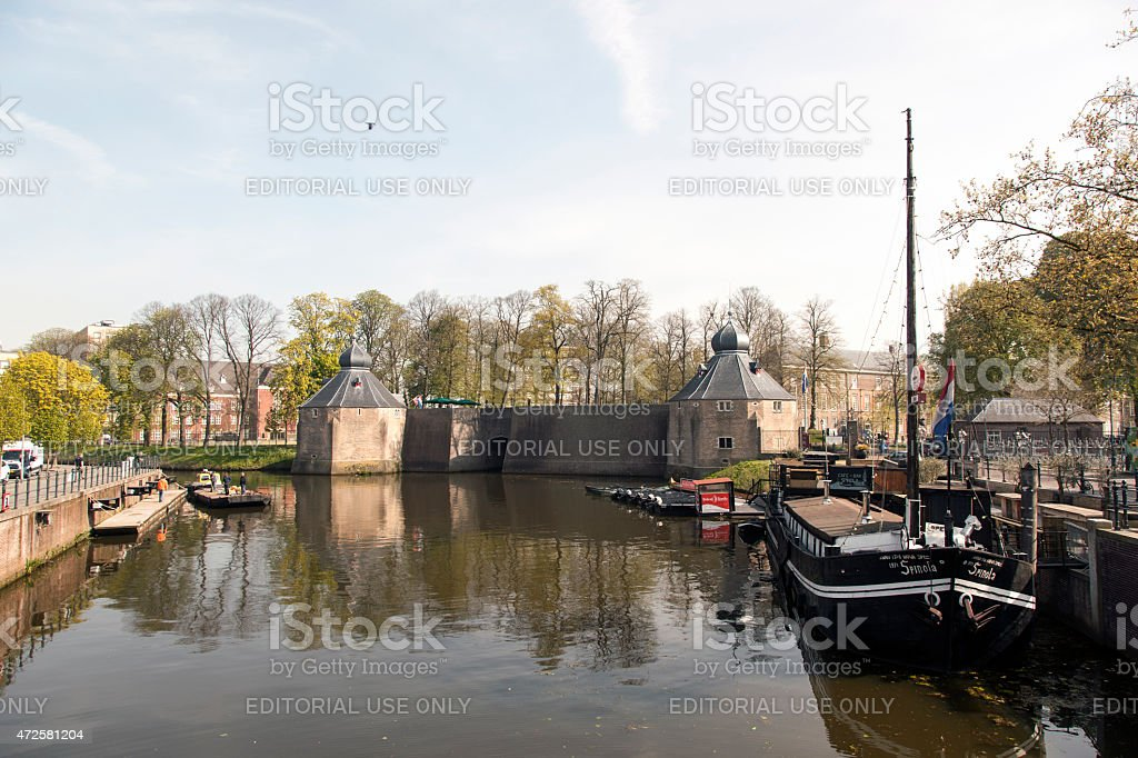 old defense buildings in front of Breda military academy stock photo