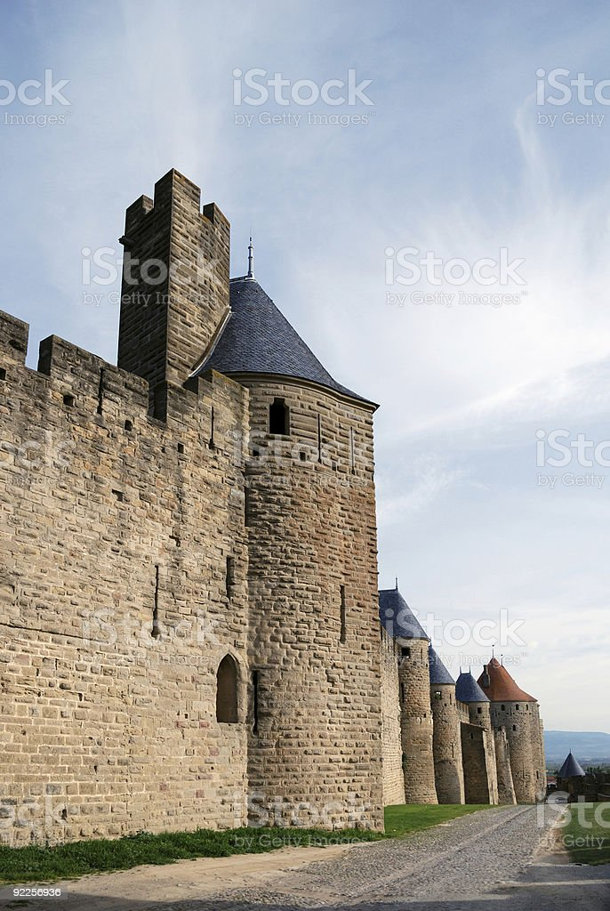 Old defense walls of Carcasson castle, France stock photo