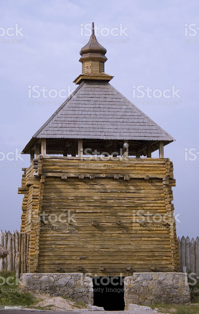 old defensive wooden tower royalty-free stock photo