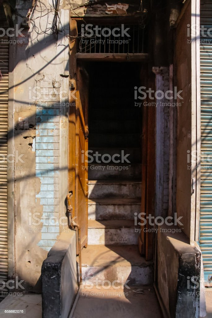old dehli architecture and streets market stock photo
