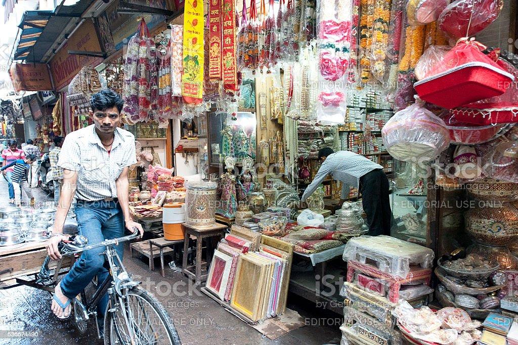 Old Delhi bazaar backstreets, Delhi, India stock photo