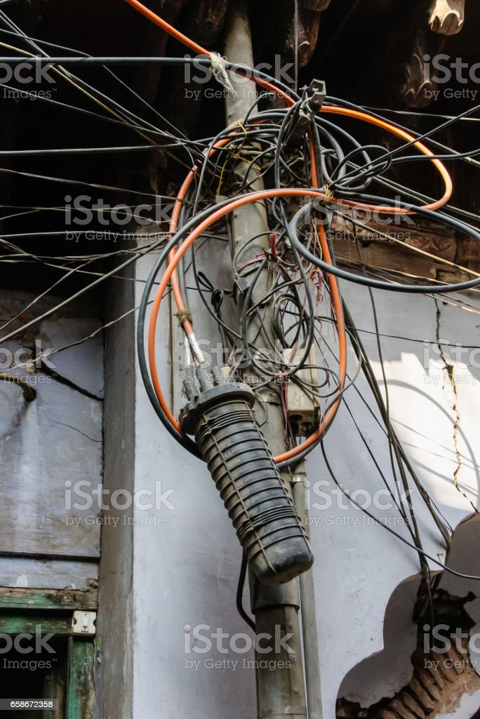 old delhi infrasctructure electricity in streets market stock photo