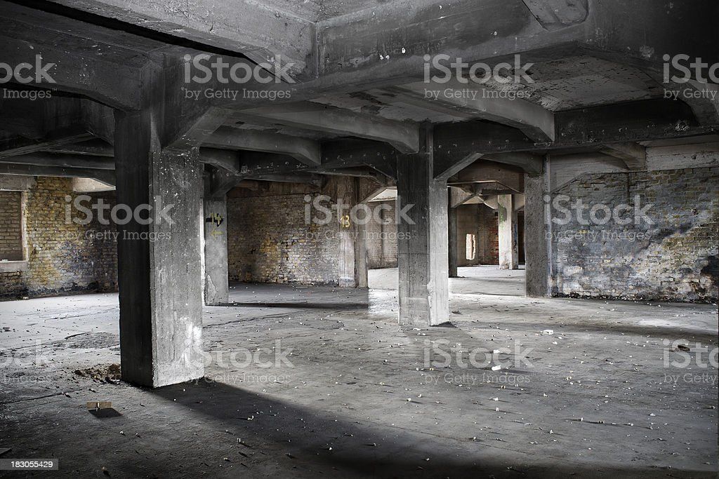 Old demolished and abandoned factory building royalty-free stock photo