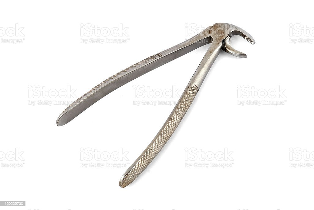 old dental pliers stock photo