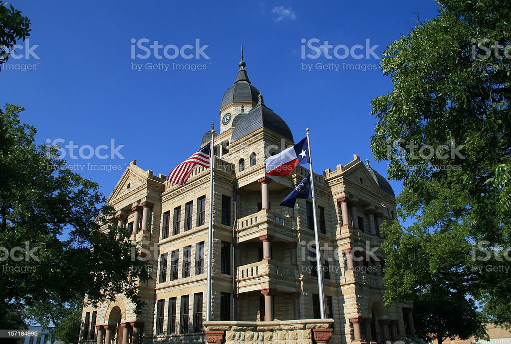 Old Denton County Courthouse on the downtown square stock photo
