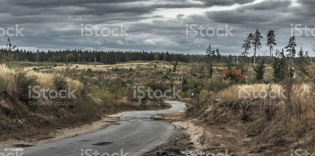 Old desert winding road stock photo