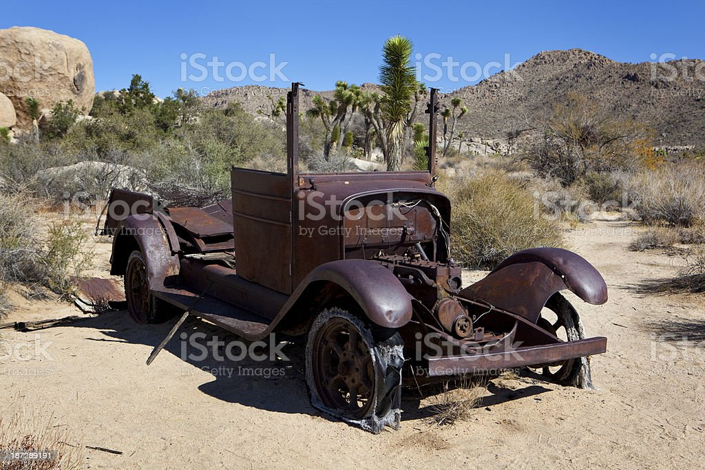 Old deserted car in Joshua Tree National Park royalty-free stock photo